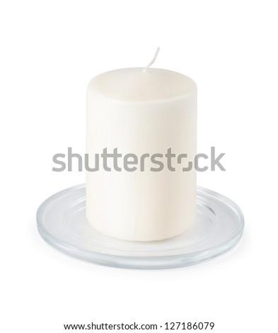 Candle isolated on white background - stock photo