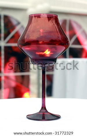 Candle lamp on the  table - stock photo