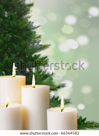 candle light and christmas tree - stock photo