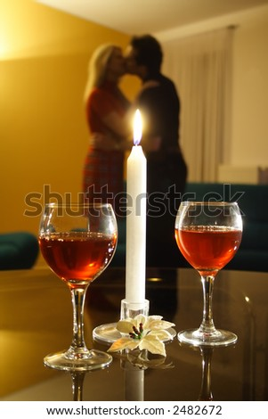 Candle-light date - stock photo