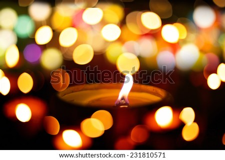 candle light of hope concept with bokeh - stock photo
