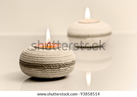 Candle light - romantic and relaxing feel. - stock photo