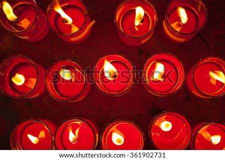 Candle light top view image - stock photo