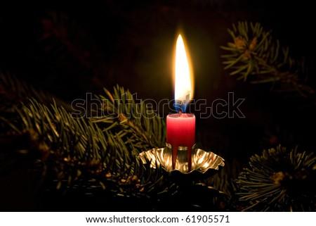 Candle on Christmas tree - stock photo