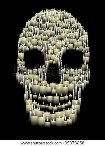 Candle skull - raster - stock photo