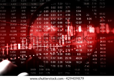 Candle stick graph chart of stock market investment trading.Close-up computer monitor with trading software. Making trading online on the digital screen. Data analyzing in Forex market.