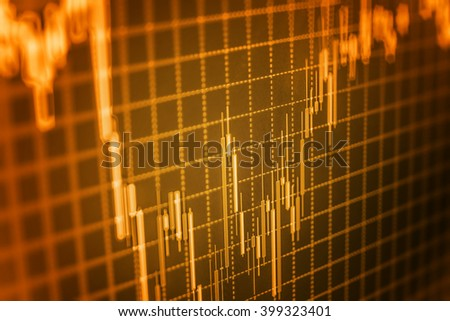 Candle stick graph chart of stock market investment trading. Stock trade live. Finance background data graph. Data on live computer screen. Share price quotes.   - stock photo