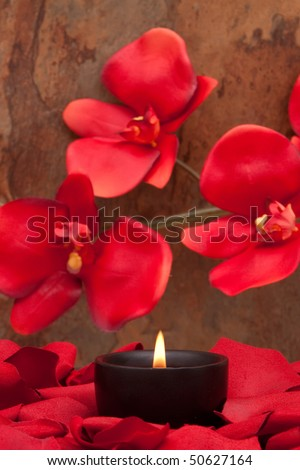 Candle surrounded with red rose petals and orchid