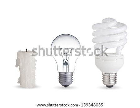 Candle, tungsten light bulb and fluorescent bulb.Isolated on white background - stock photo