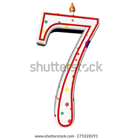 Candle with number 7 for birthday cake, isolated over white, 3d render, square image - stock photo