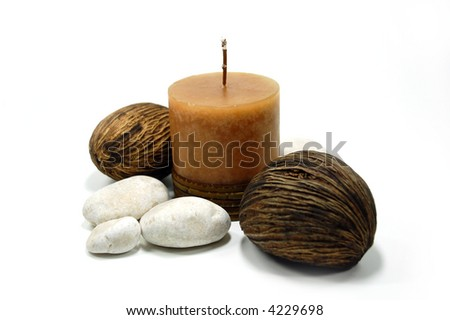 Candle with stones - stock photo
