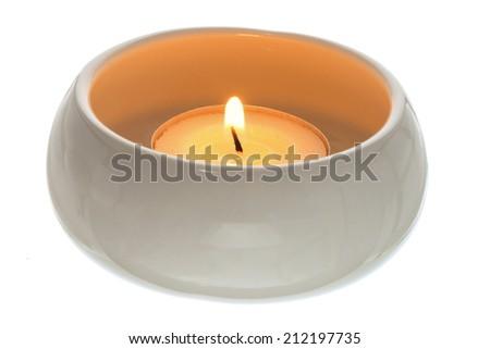 Candlelight on White Background - stock photo