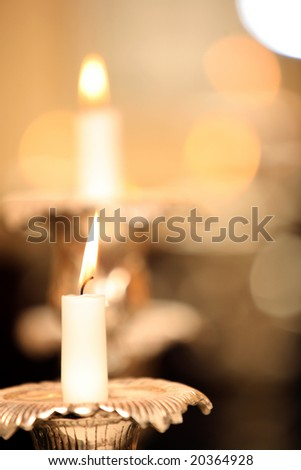 Candles abstraction (soft focus) - stock photo