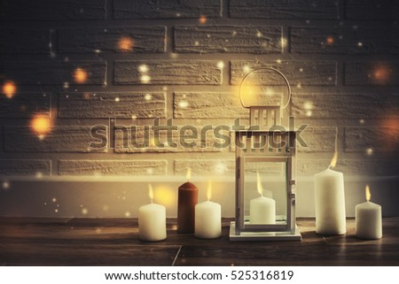 candles against magic holidays background