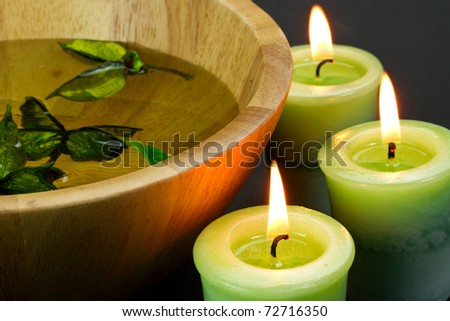 Candles and spa accessories