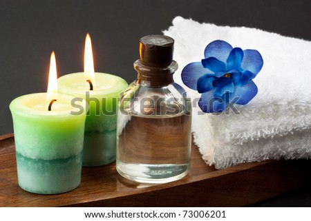 Candles and spa accessories - stock photo
