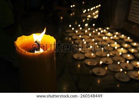 Candles at a Buddhist temple - stock photo
