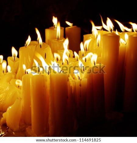 Candles at night - stock photo