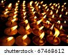 Candles at swayambhunath temple in Kathmandu, Nepal - stock photo