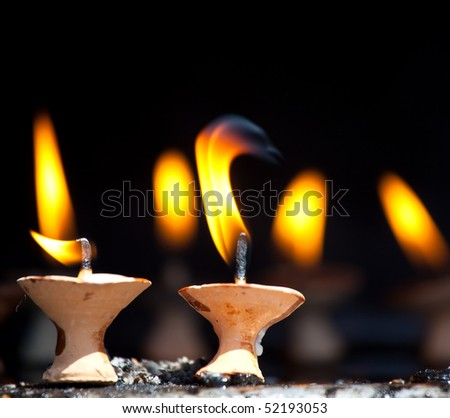 Candles at  temple - stock photo