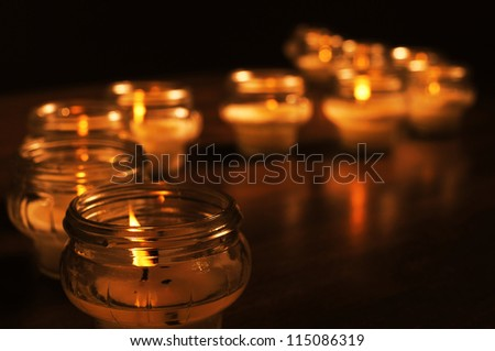Candles for All Souls Day. OTHER PHOTOS FROM THIS SERIES IN MY PORTFOLIO. - stock photo