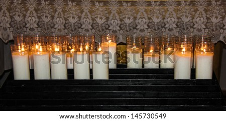 Candles in a church in Majorca, Spain