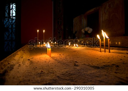 Candles in Armenian Cathedral of the Assumption of Mary, Lviv, Ukraine