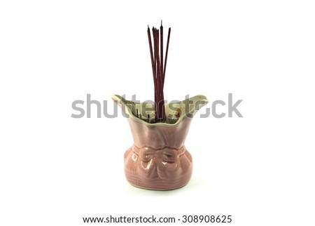 Candles, incense burner - stock photo