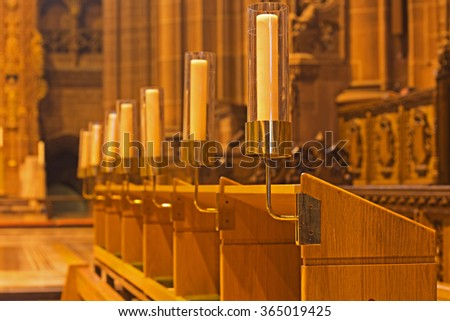 Candles inside Liverpool Anglican Cathedral - stock photo