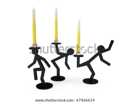 Candles isolated over white - stock photo