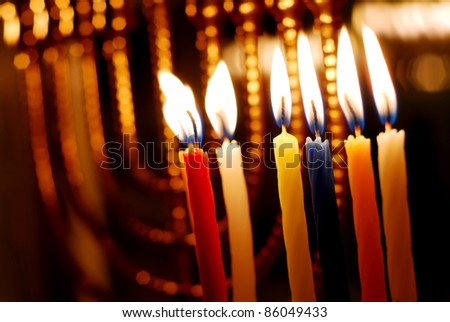 Candles Lit for the Sixth Night of Hanukkah - stock photo
