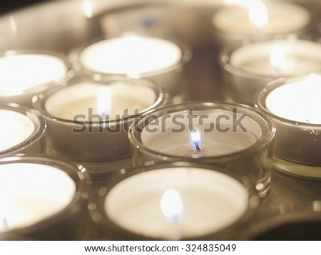 candles meditation with tea lights - stock photo