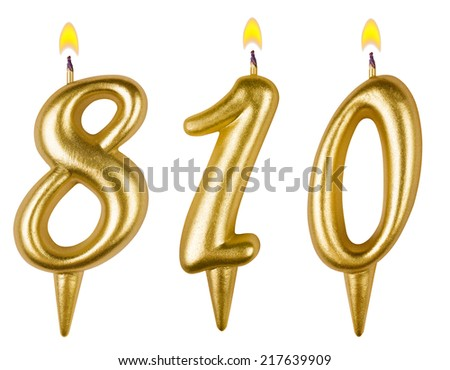 candles number eight hundred ten isolated on white background - stock photo