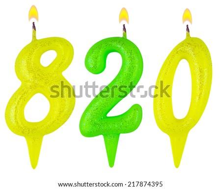 candles number eight hundred twenty isolated on white background - stock photo