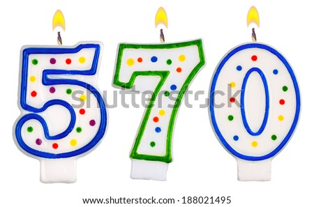 candles number five hundred seventy isolated on white background - stock photo