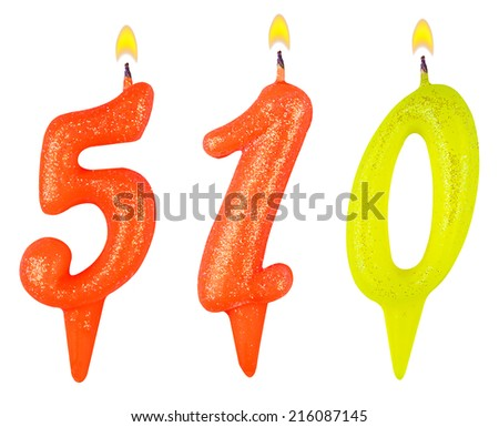 candles number five hundred ten isolated on white background - stock photo