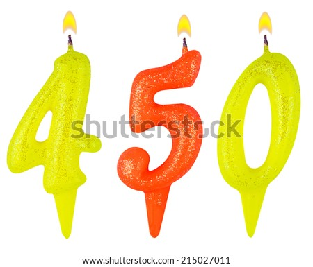 candles number four hundred fifty isolated on white background - stock photo