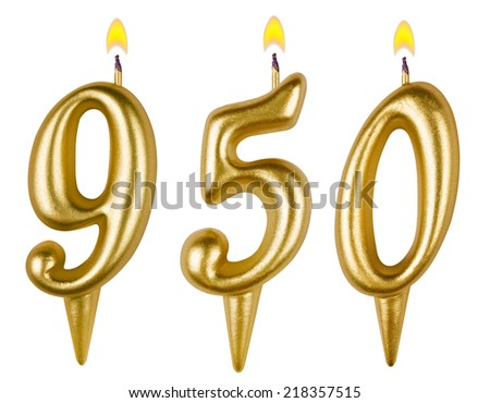 candles number nine hundred fifty isolated on white background - stock photo