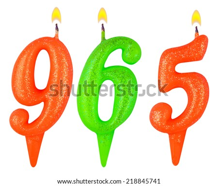candles number nine hundred sixty-five isolated on white background - stock photo