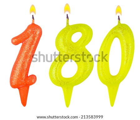 candles number one hundred eighty isolated on white background - stock photo