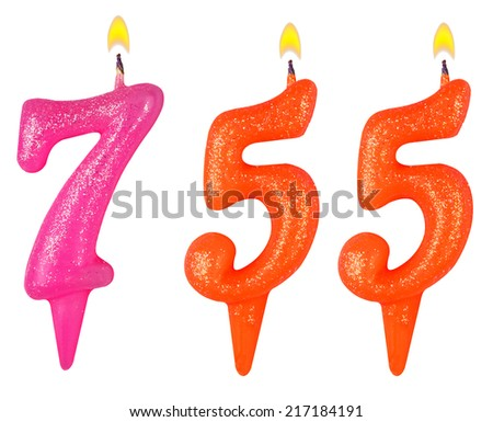 candles number seven hundred fifty-five isolated on white background - stock photo
