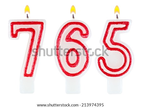 candles number seven hundred sixty-five isolated on white background - stock photo