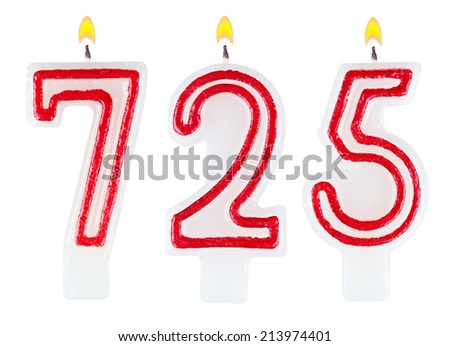 candles number seven hundred twenty-five isolated on white background - stock photo
