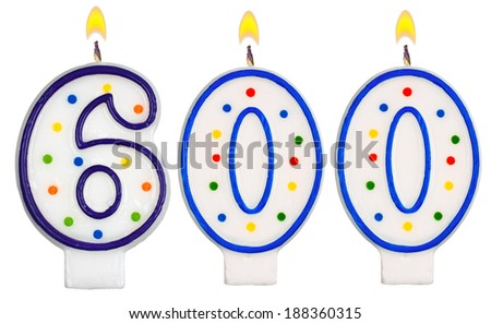 candles number six hundred isolated on white background - stock photo