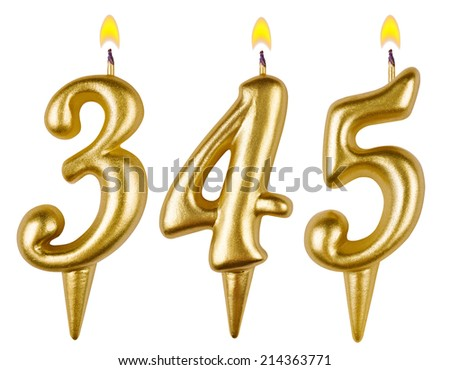 candles number three hundred forty five isolated on white background - stock photo
