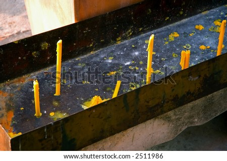 candles on altar - stock photo