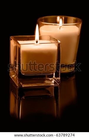 Candles on black. Christmas decoration - stock photo