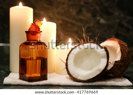 candles spa coconut oil - stock photo