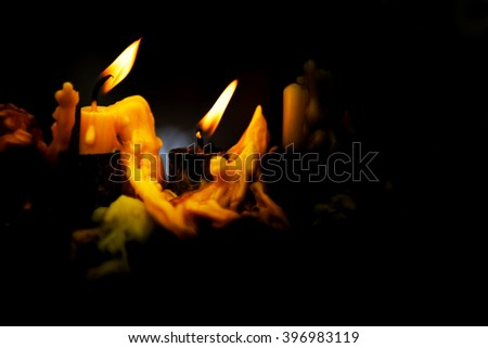 Candles used for light in the darkness.