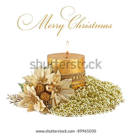 Candles with Christmas decorations on white - stock photo